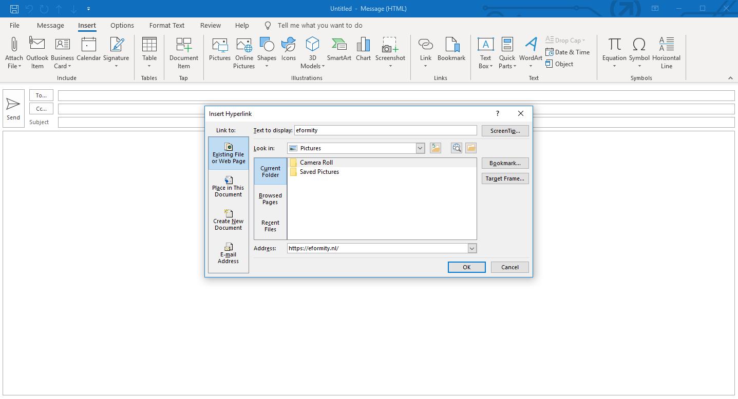 Hyperlink toevoegen in microsoft Outlook