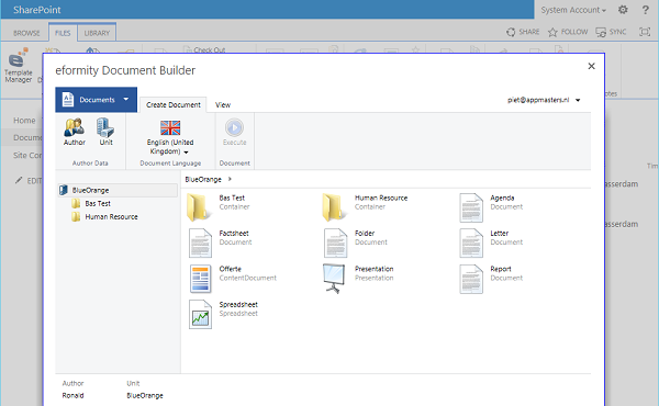 Microsoft SharePoint-keuze uit documenten
