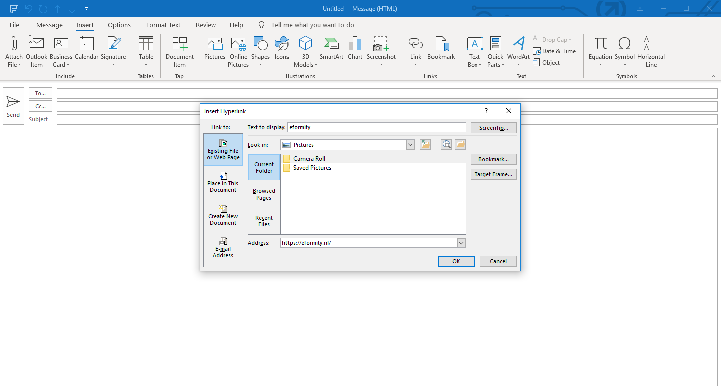 Hyperlink toevoegen in microsoft Outlook