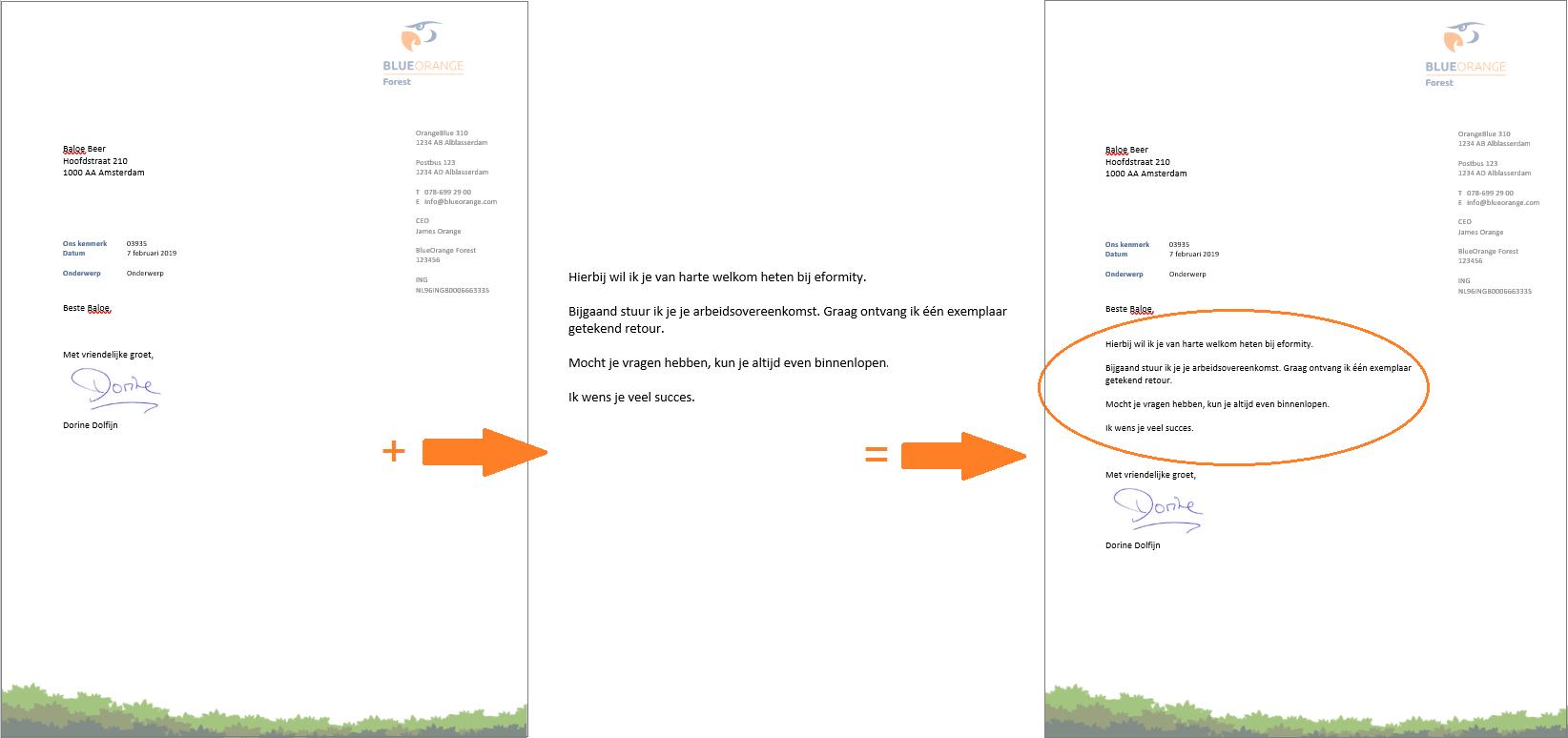 Tekstblokken in standaard document