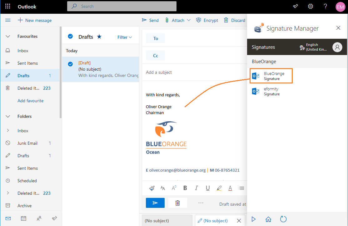 Outlook 365 handtekening